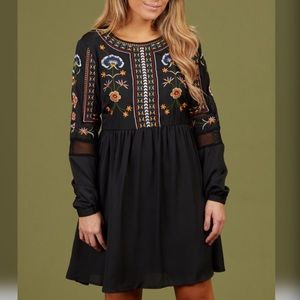 New! Altar'd State Embroidered long sleeve dress